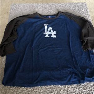 Men's 3/4 sleeve jersey style Dodgers T Shirt #705